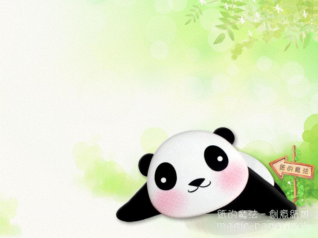 可爱的熊猫纸雕电脑桌布下载/纸雕插画壁纸下载